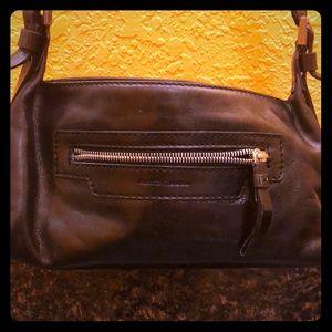 Black smooth leather Francesco Biasa shoulder bag